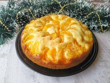 Мандариновый пирог (простое тесто + свежие мандарины)