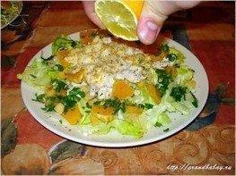 Салат Зеленый с курицей и апельсинами