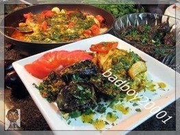 Теплый салат Баклажанный