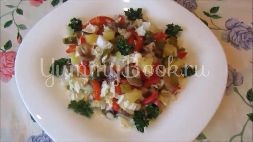 Постный салат с грибами и пекинской капустой  - шаг 4