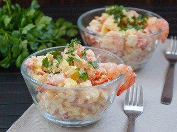 Картофельный салат с креветками