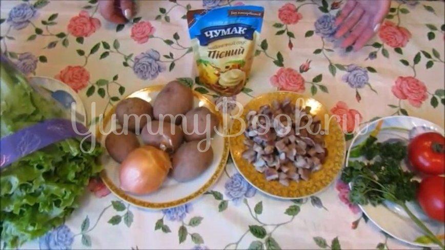 Постный слоеный салат с грибами и помидорами - шаг 1