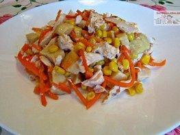 Диетический салат с курицей и овощами