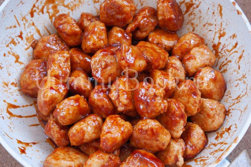Куриные фрикадельки в медовом соусе - шаг 8