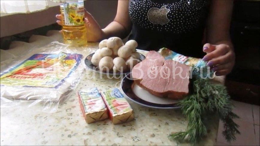 Рулет из лаваша с копченым мясом и грибами - шаг 1