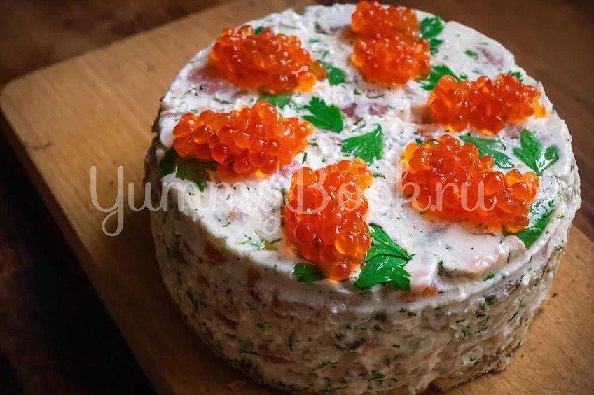 Творожный торт чизкейк без выпечки с семгой