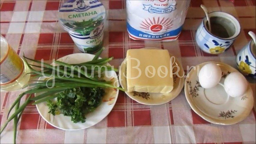 Сырная лепёшка на сметане с зеленью - шаг 1