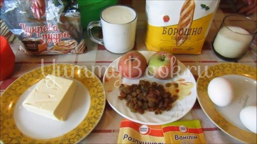 Кексы на кефире с яблоком и изюмом - шаг 1