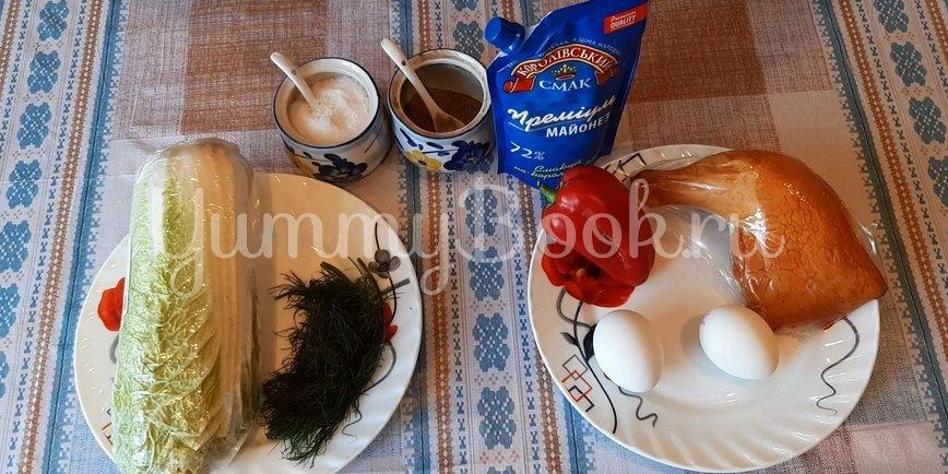 Салат с пекинской капустой и копченой курицей - шаг 1