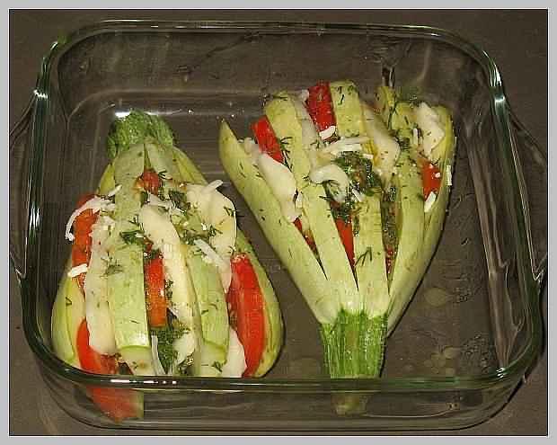Рецепт кабачки в духовке с овощами