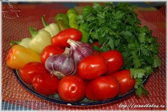 Рецепт аджики помидоры морковь перец болгарский красный лук репчатый чеснок