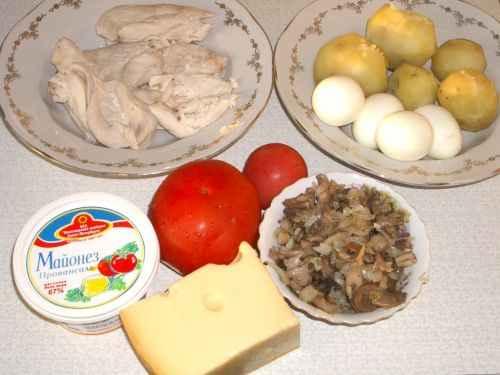 Салаты яйца сыр картофель куриное мясо