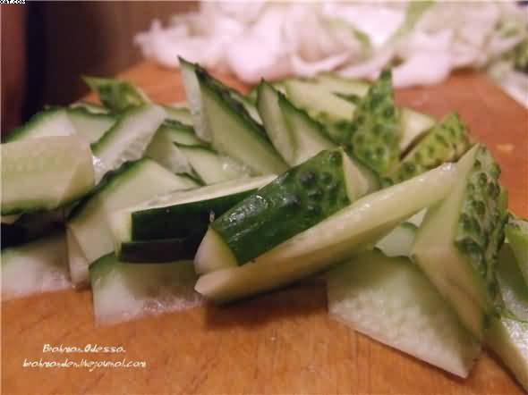 Салат с мидиями, овощами и шампиньонами, пошаговый рецепт с фото