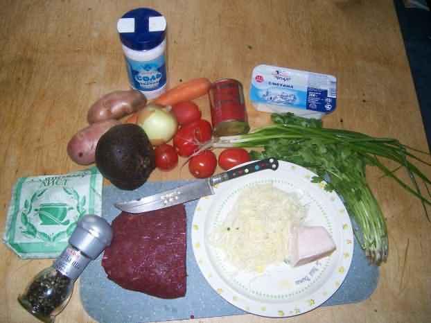 Борщ с говядиной и сметаной , пошаговый рецепт с фото