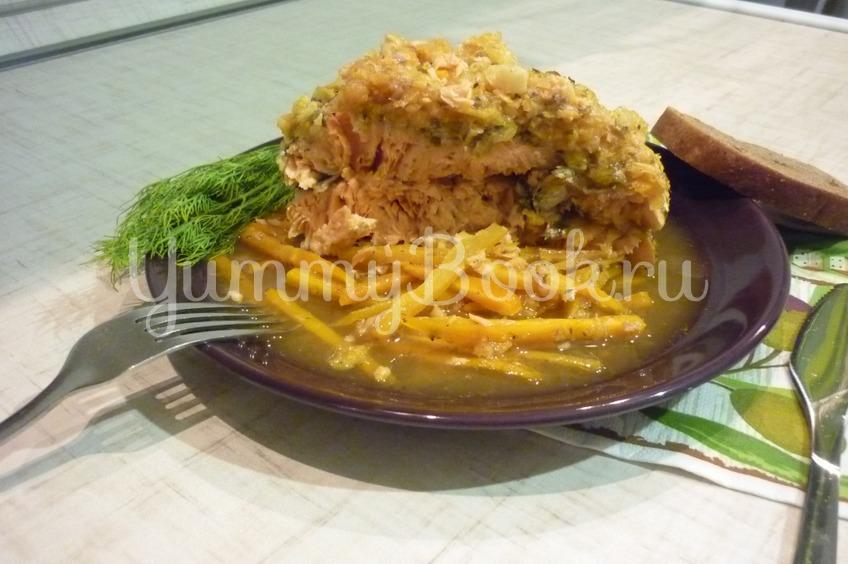 Рецепт Запечённый лосось в апельсиново-чесночном соусе